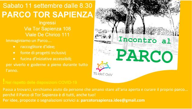 INCONTRO AL PARCO:  sabato 11 settembre ripartiamo.